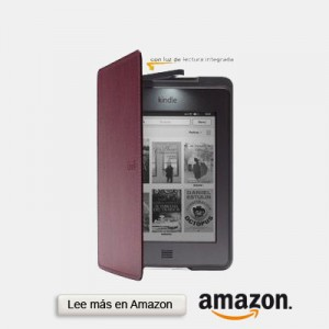 funda con luz cuero para kindle amazon